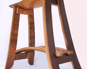 Kyoto, recycled oak wine barrel staves barstool, made from used French wine barrels