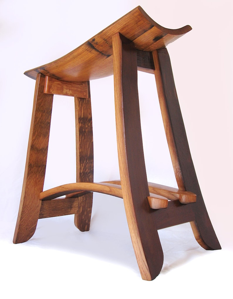 Kyoto recycled oak wine barrel staves barstool made from image 0