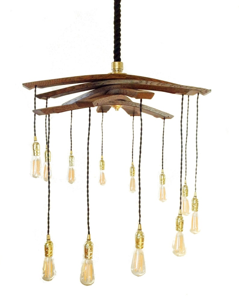 Lucciole recycled wine barrel staves large 12 lights image 0