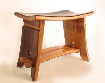 The Emperor Seat, recycled oak wine barrel staves gorgeous stool, small bench