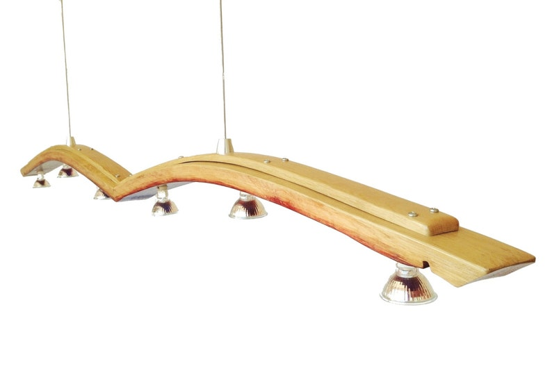 Seagull recycled wine barrel stave long pendant light image 0