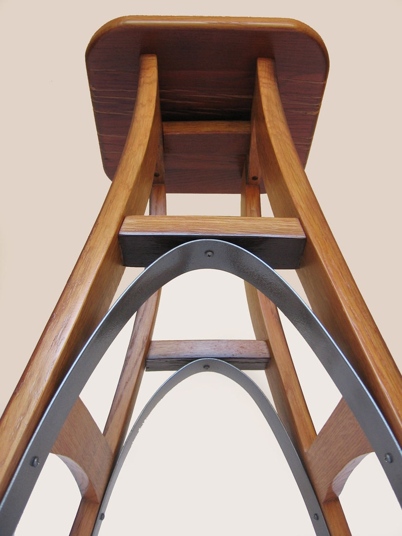 Eiffel barstool recycled oak wine barrel high stool image 0