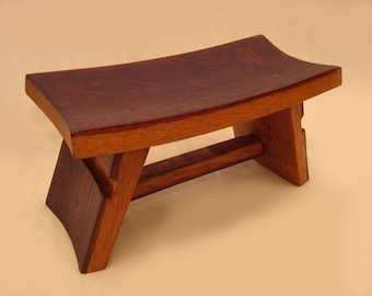 The Temple, charming little zen stool, recycled wine barrel staves of solid French white oak
