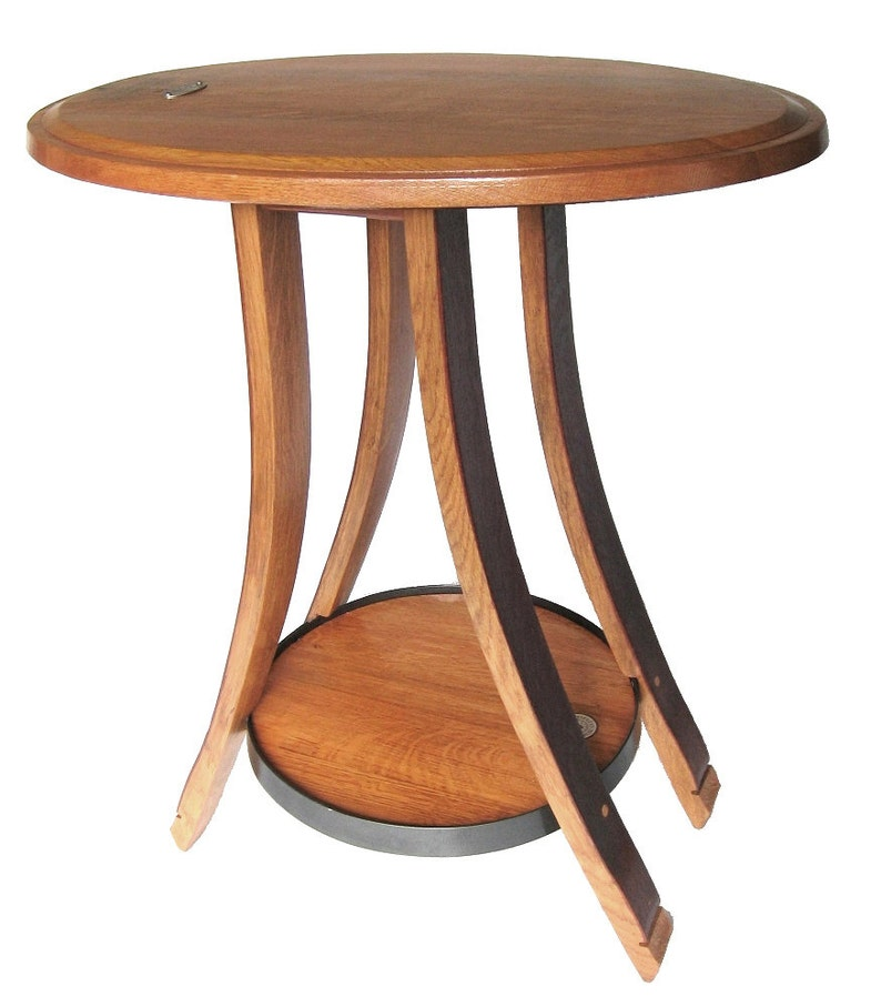 Cricket oval recycled oak wine barrel end or side table 4 image 0