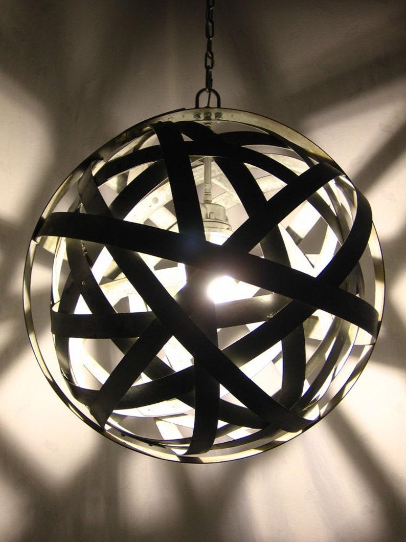 Orbits urban chandelier recycled wine barrel metal hoops image 0
