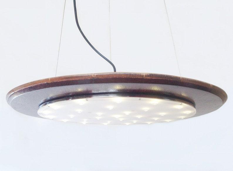 Halo pendant LED light recycled wine barrel top image 0