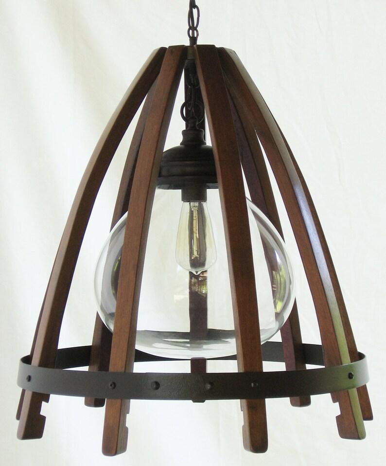 Medusa recycled oak wine barrel staves hoop hanging pendant image 0