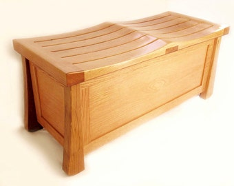 Venice Chest, solid white oak trunk, large bench made with recycled wood from wine fermentation barrels
