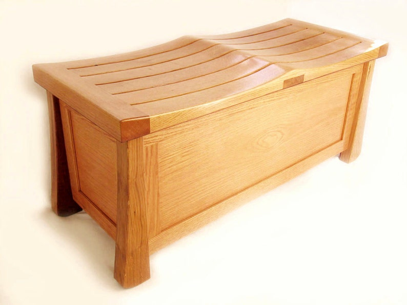 Venice Chest solid white oak trunk large bench made with image 0