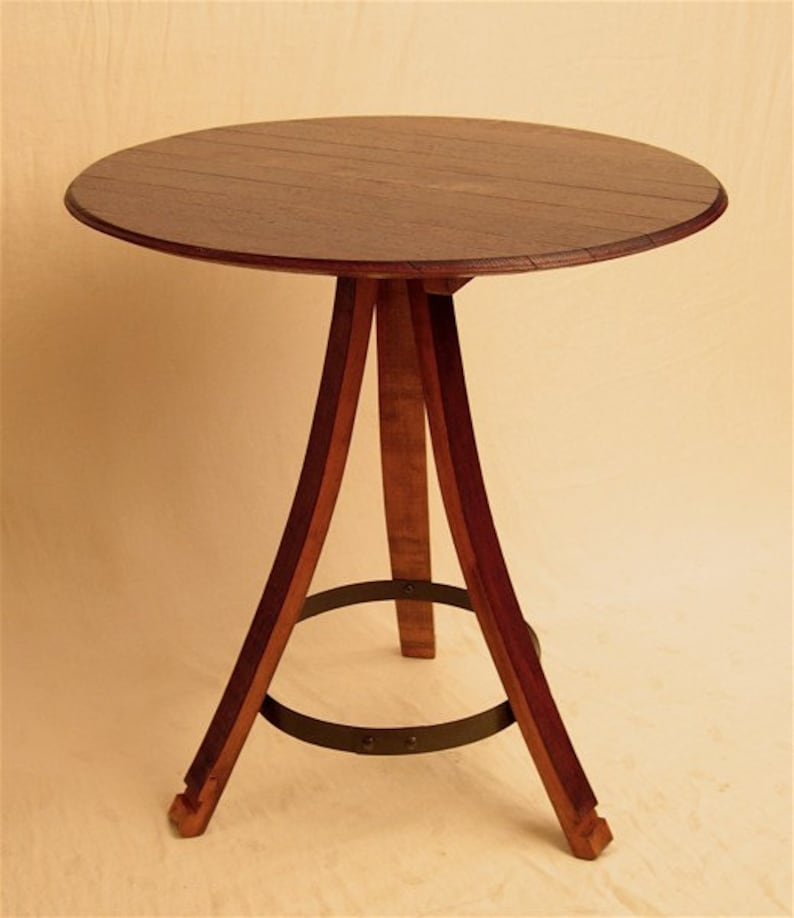 The Bistro round table recycled oak wine barrel staves and image 0