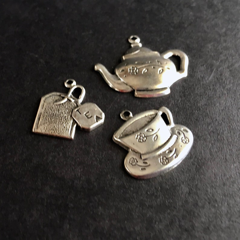Lot of 3 Tea Charms Embellishments Pendants Jewelry Making Supplies DIY Craft Project Element Silver Toned Findings Teacup Teapot Teabag