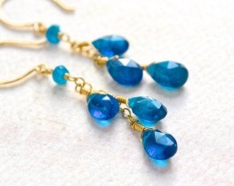 Oasis Earrings - apatite earrings, apatite dangle earrings, apatite jewelry, something blue earrings, electric blue apatite tendril earrings