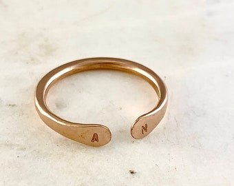 Custom Initial Ring - rose gold initial ring, double initial ring, two initial rose gold ring, monogram, personalized ring, sweetheart ring