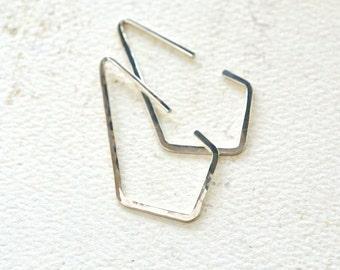 Dunes Hoop Earrings - silver hoop earrings, silver kite hoop earrings, geometric hoop earrings, crystal point hoops, nautical minimalist