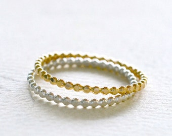 Droplets Ring - gold hammered dot ring, silver dot ring, stacking ring, dotted ring, skinny stacking ring