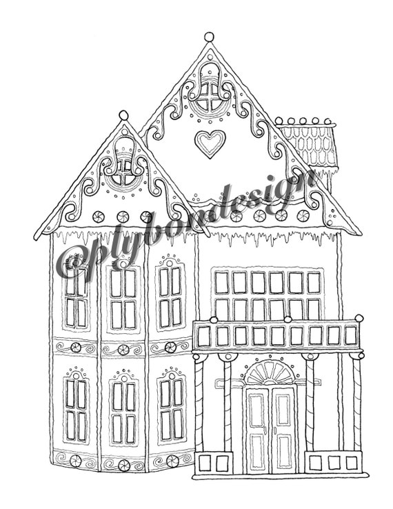 - Gingerbread House Coloring Page Digital Download Etsy