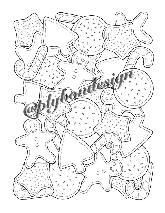 Christmas Cookies Coloring Page  Digital Download