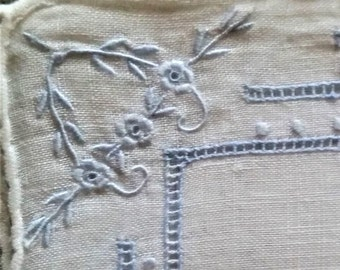Vintage Hankie, blue embroidery white linen, handkerchief, something old something new, bride wedding