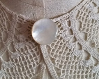 Antique Collar Button, Mother of Pearl, brass stud, large round, fastener, white