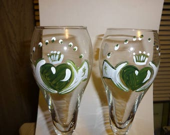 d53a9678572 Custom tulip toast flutes glasses claddagh set of 2 Irish wedding MUST HAVE hand  painted