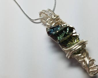 Bismuth Crystal Wire Wrapped Pendant necklace blues green  Free Shipping  Non Tarnish Silver