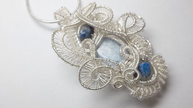 Wire Wrapped Woven Gemstone PendantKyanite and Lapis Fine image 0