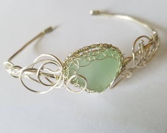 Seafoam Sea Glass Bracelet  - one of a kind-   Free US Shipping-All Sterling Silver---Adjustable