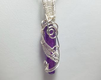 Wire Wrapped and Woven-Deep Purple Aura Crystal Pendant Necklace-Silver on copper Wire Free US Shipping hand wired cage