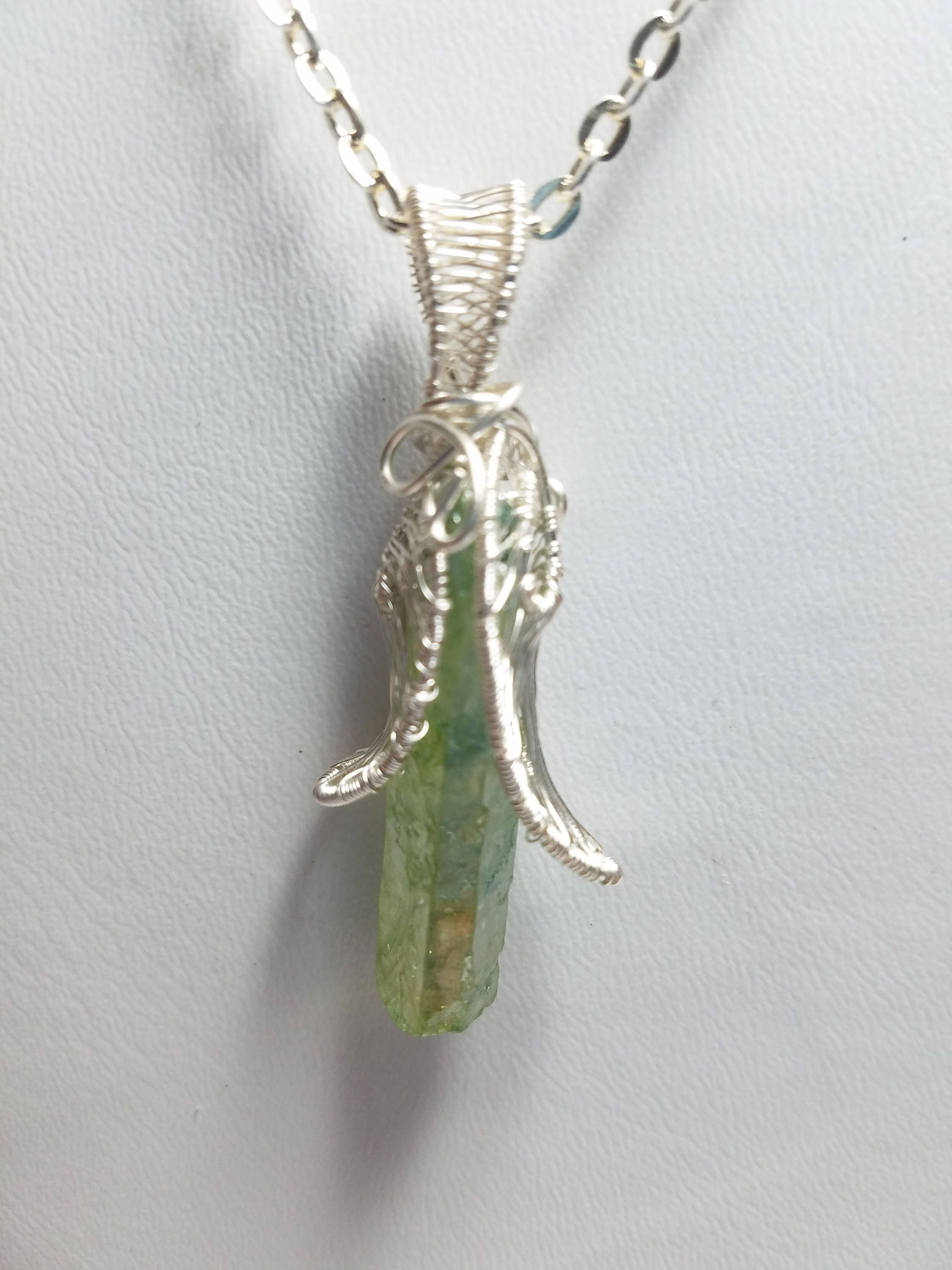 Wire Wrapped and Woven Green Aura Crystal Pendant | Etsy