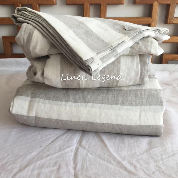 4 pcs  washed 100/% Linen bedding cream oatmeal ticking duvet cover sheet pillow
