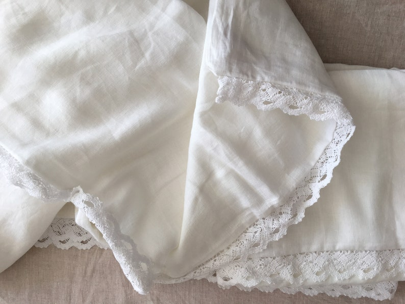 Set of 3 Shabby chic Pre washed 100/% flax Linen bedding duvet cover comforter laces with 2 matching pillowcases white  off white  beige