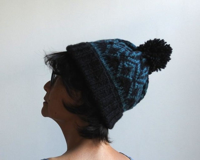 Winter Hat with Pompom New York Fashion Hat Hand Knit Hat Great Gift for Christmas Hand Made in New York Nordic Hat Wool Hat