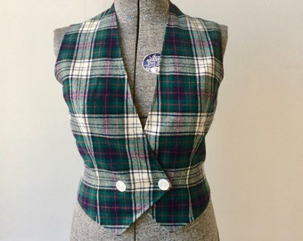 1960s Vintage Pendelton Tartan Vest Green Plaid Double Breasted Size Medium 10/12