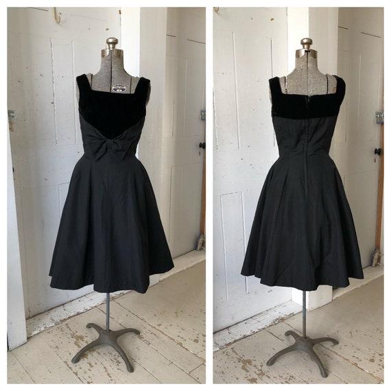 1950s Black Dress NATLYNN Silk Faille & Velvet Sem