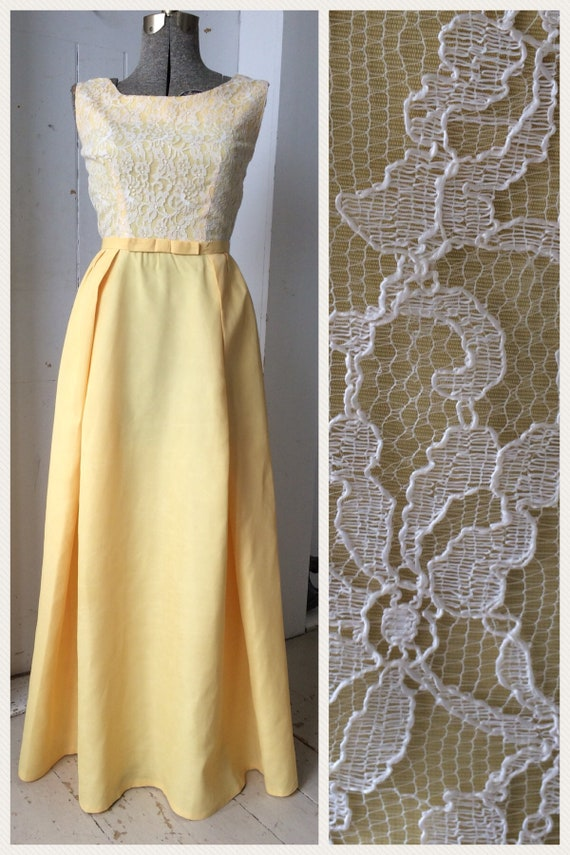 1960 Maxi Yellow Gold Dress Gown White Chantilly Lace Overlay | Etsy