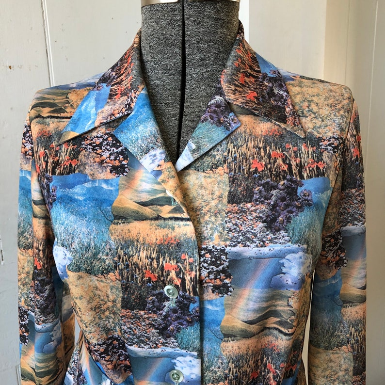1970s Polyester Button down Landscape Rainbow Top Shirt Blouse Photographic with Belt Size Large