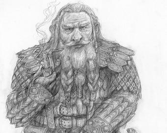 A Dwarven Adventurer, Original Drawing