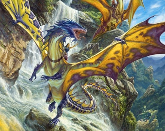 Waterfall Dragons, signed giclee print