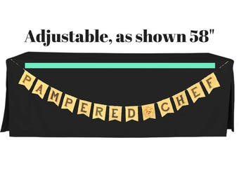 Pampered Chef Burlap Pennant Banner with flower divider