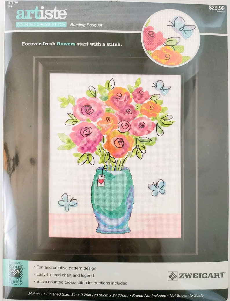 Bursting Bouquet Floral Cross Stitch Kit by Kooler Design Studio Zweigart  Artiste 1576776