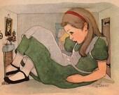 Alice in Wonderland mono deluxe Needlepoint Canvas