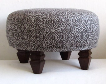 Magnificent Tuffet In Blue Ikat Upholstered Etsy Inzonedesignstudio Interior Chair Design Inzonedesignstudiocom