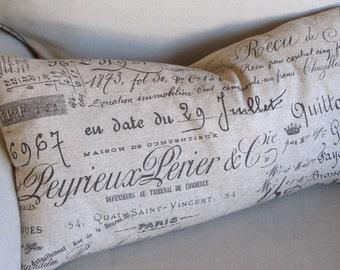 Decorative French Bird  Script Pillow Cover