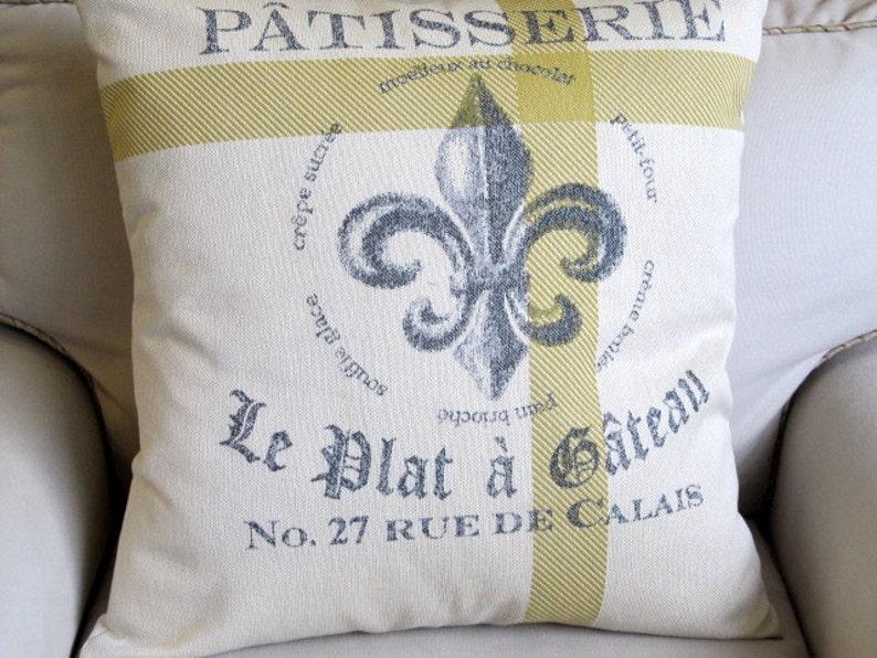 PATISSERIE Fleur De Lis cream and citrine gold 22x22 Large Etsy