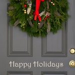 Happy Holidays Christmas holiday festive front  door decal (first class shipping)