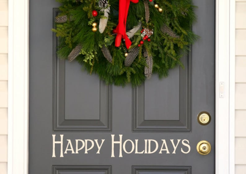 Happy Holidays Christmas holiday festive front  door decal image 0