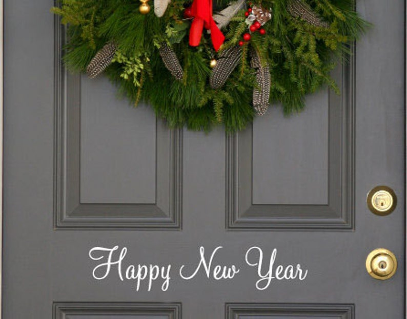 Happy New Year  holiday festive front  door decal first class image 0