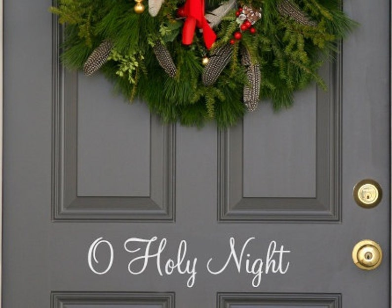 O Holy Night Holiday front  door decal first class shipping image 0