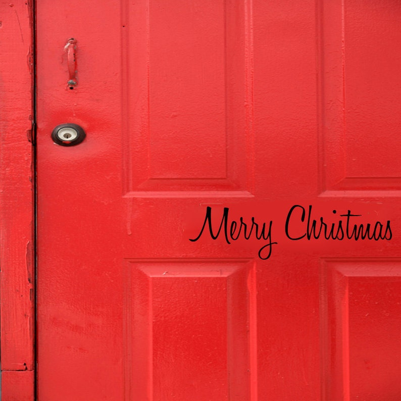 Merry Christmas Holiday front  door decal first class image 0