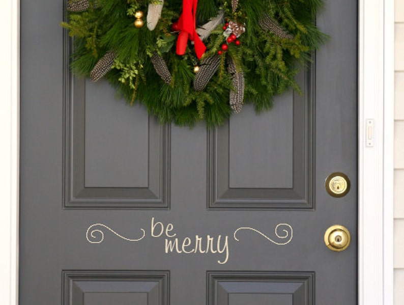 Be Merry Christmas Holiday front  door decal US priority image 0